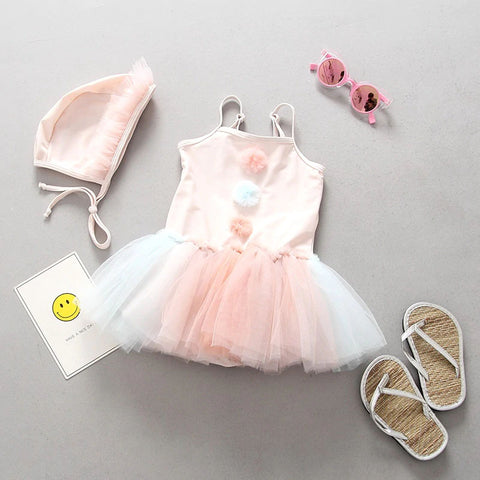 Pom Pom Tutu Swimsuit Set  - 12M - 4T