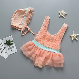 Ruffles Ruffles Orange Swimsuit Set  - 12M - 4T