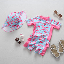 Pink Flamingos UV Protection Surf Set - 6M - 4T