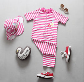 Pink Stripes UV Protection Surf Set - 6M - 4T