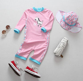Zebra Safari Long Sleeve UV Protection Surf Set - 6M - 4T