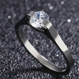 Geo Titanium Solitaire Engagement Ring