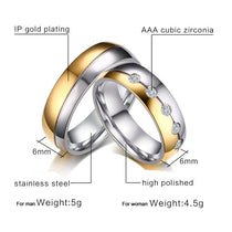 Gold & Silver w/ AAA CZ Couples Ring Set