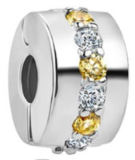 Yellow & Clear CZ Silver Security Bead