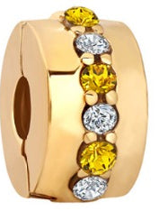 Yellow & Clear CZ Gold Security Bead