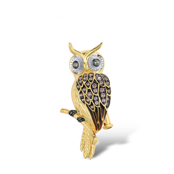 Gold & Crystal Owl Luxury Brooch