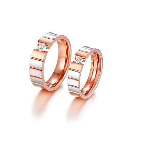 Grooved Rose & Stainless Crystal Couples Rings