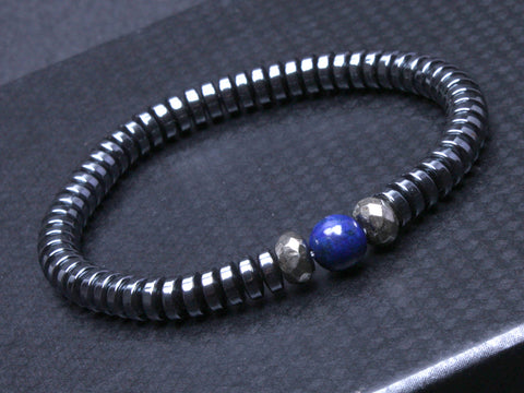 Handmade men's  Gun Metal Black Beads with Natural Lapis lazuli Beads Bracelet