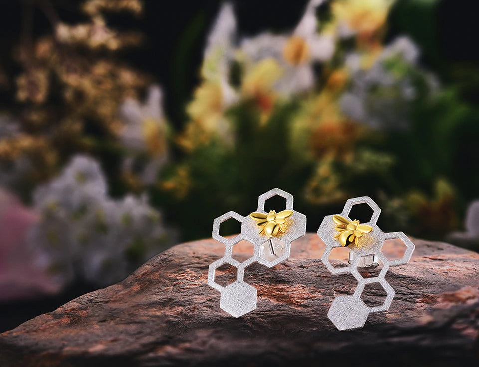 Sterling Silver Honeycomb Earrings with Baby Bees - Limited Quantities!