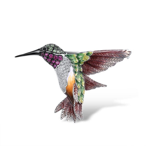 Luxury Handcrafted Hummingbird Brooch w/Swarovski Crystals