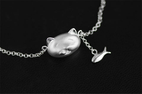 Handcrafted Hungry Kitty Sterling Silver Bracelet