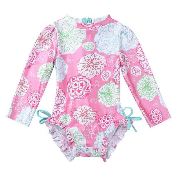 Flower Stamp Long Sleeve Infant Swimsuit 3M - 24M
