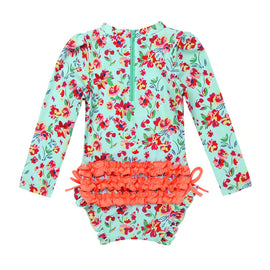 Lots of Flowers Long Sleeve Infant Swimsuit 3M - 24M