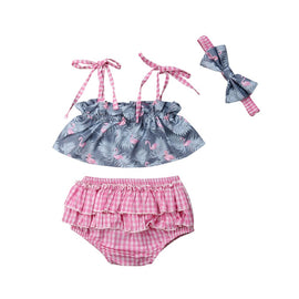 Girls Gingham Flamingo 3-Piece Set