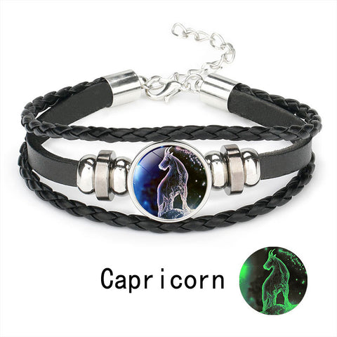 Illuminated Zodiac Men's Genuine Leather Bracelet :: Available in 12 Styles