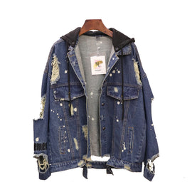 Designer Hand Embellished Indian Head Distressed Denim Jacket
