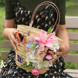The Kelly - Butterflies & Lilly's Handmade  Straw Tote