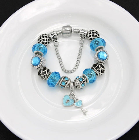 Something Blue - Key to My Heart :: Handmade European Charm Bracelet ::