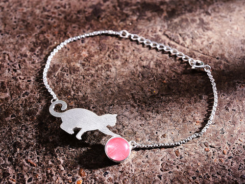 Handcrafted Playful Kitten with Genuine Rose Quartz Ball