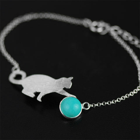 Handcrafted Playful Kitten with Genuine Amazonite Stone