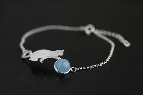 Handcrafted Playful Kitten with Genuine Aquamarine Stone