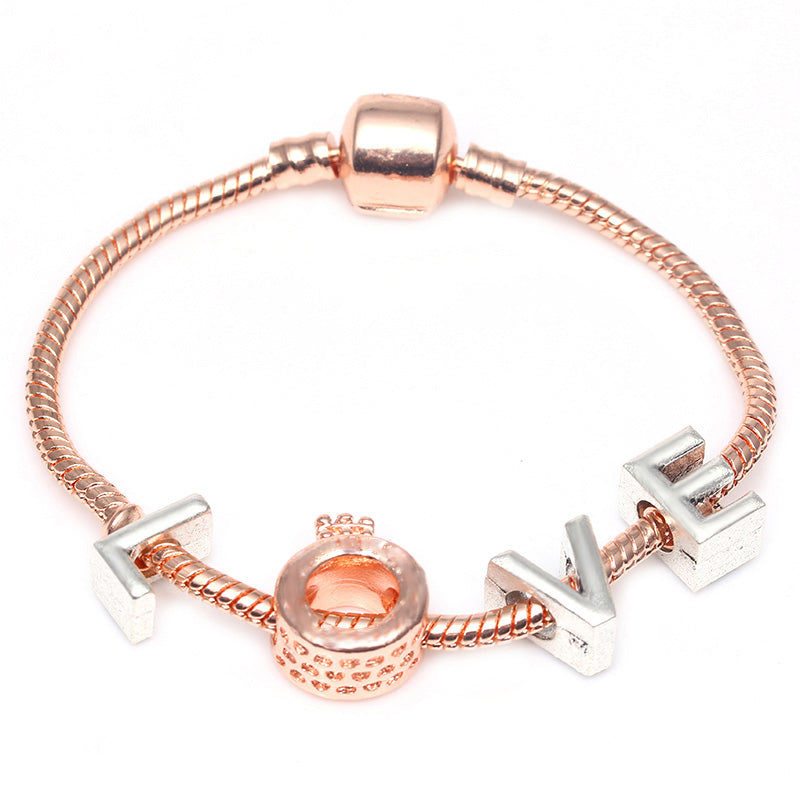 """L-O-V-E"" Rose Gold & Silver  European Bracelet Design"