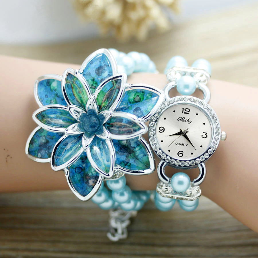 Ladies Large Flower Bracelet Fashion Watch  :: Available in 5 Colors