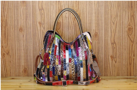 Bohemian Stripes Genuine Leather Shoulder Bag