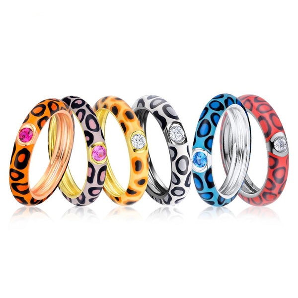 Colorful Leopard Print Sterling Silver Band :: Available in 6 Colors