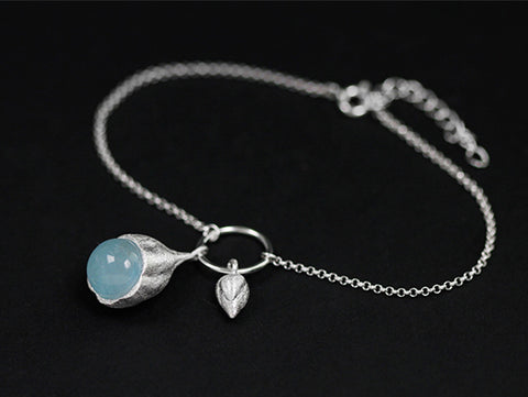 Handcrafted Genuine Aquamarine Crystal New Beginnings Lotus Bud Bracelet