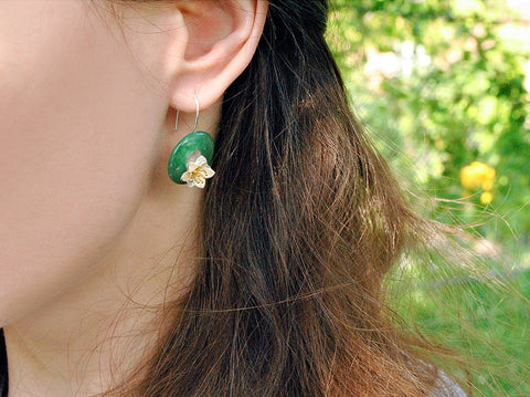 Handcrafted Lotus in a Circle of Genuine Aventurine