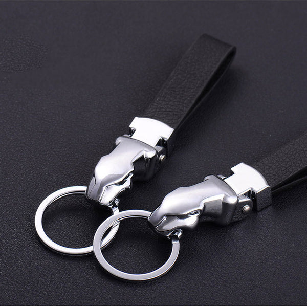 M-Style 2316 Metal Leopard Head Leather Key Chain