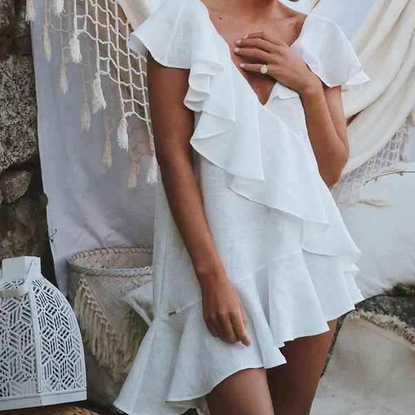 Boho Cross Ruffled Mini Beach Dress