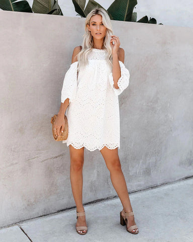 Boho Open Shoulder Eyelet Lace Mini Beach Dress