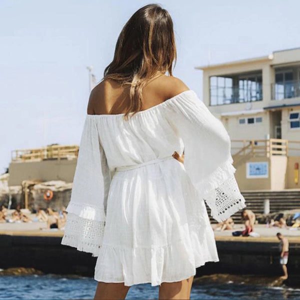 Bohemian Lace & Tassel Bell Sleeve Mini Dress