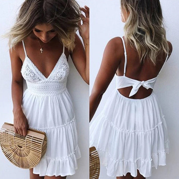 Boho Lace Back Bow Tie Mini Beach Dress