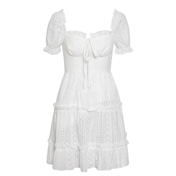 Romantic Eyelet Lace Summer Mini Dress
