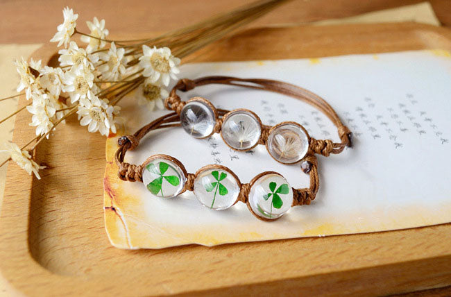 Make a Wish! Handcrafted Dried 4-Leaf Clover or Dandelion Bracelet