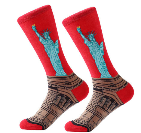 Men's Cotton Crew Socks - Masterpiece Collection - Statute of Liberty - NYC