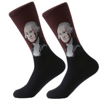 Men's Cotton Crew Socks - Masterpiece Collection - George Washington - Gilbert Stuart