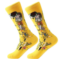 Men's Cotton Crew Socks - Masterpiece Collection - The Kiss - Gustav Klimt