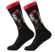 Men's Cotton Crew Socks - Masterpiece Collection - Girl with the Pearl Earring - Johanes Vameer