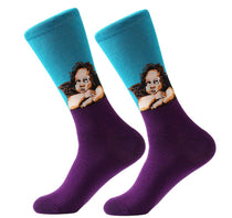 Men's Cotton Crew Socks - Masterpiece Collection - Angels - Raphael