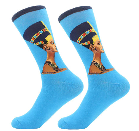 Men's Cotton Crew Socks - Masterpiece Collection - Nefertiti 2