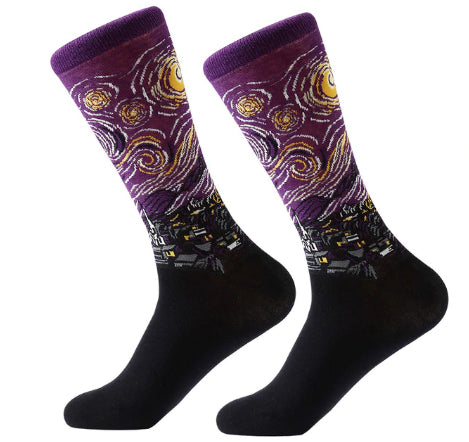 Men's Cotton Crew Socks - Masterpiece Collection - Starry Night 2 - Van Gogh