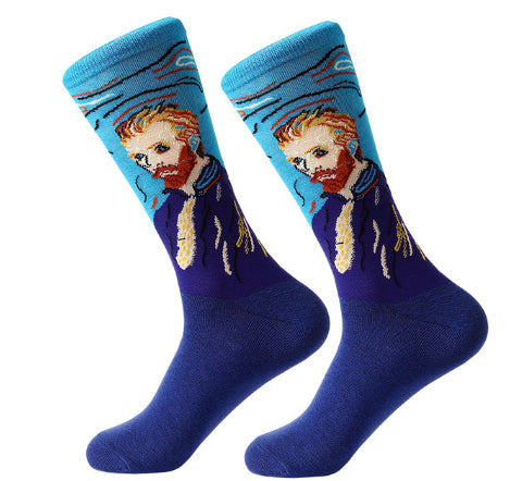 Men's Cotton Crew Socks - Masterpiece Collection - Himself - Van Gogh