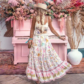 Whimsy Floral Garden Bohemian Style Maxi Skirt