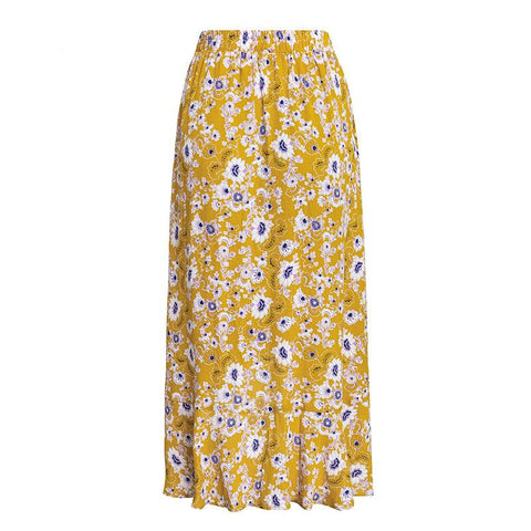 Bohemian Style Yellow Flower Maxi Skirt