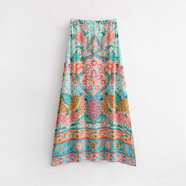 Casual Floral Print Boho Summer Maxi Skirt :: Available in 2 Colors