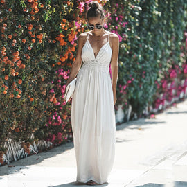 Sexy Boho Lace Embellished Open Back Maxi Dress